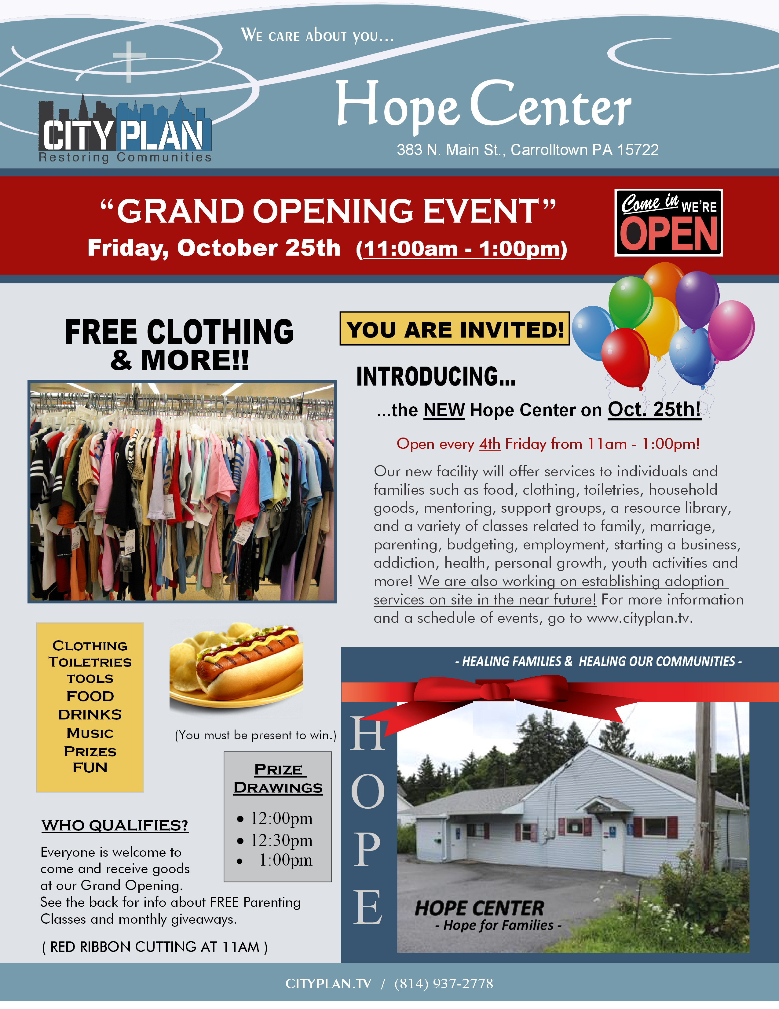 Hope Center Grand Opening Flyer