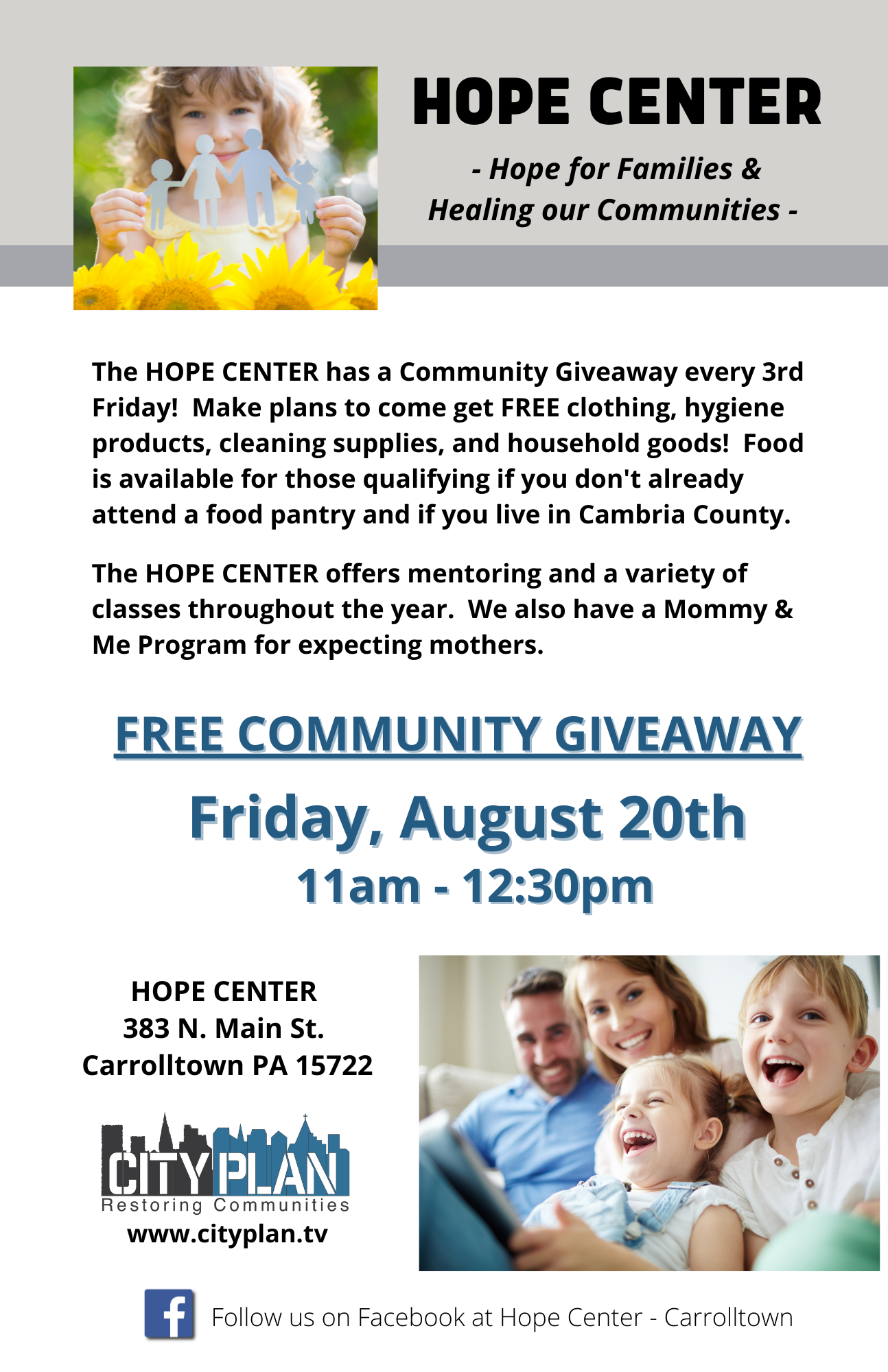 Hope Center Flyer - August 2021 (1 on page)